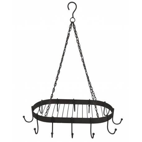 Porte Ustensiles de Cuisine 12 Crochets Ovale ou Ratelier Porte Jambons à Suspendre en Fer Patiné Marron 45x73x86cm