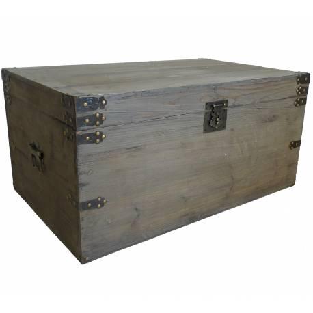 Malle Style Ancienne Coffre de Rangement à Jouets Bar Range Bouteilles en Bois 41x52x75cm
