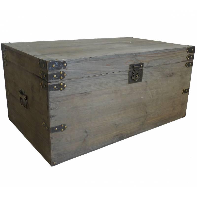 malle style ancienne coffre de rangement jouets bar range bouteilles en bois 39x50x82cm l