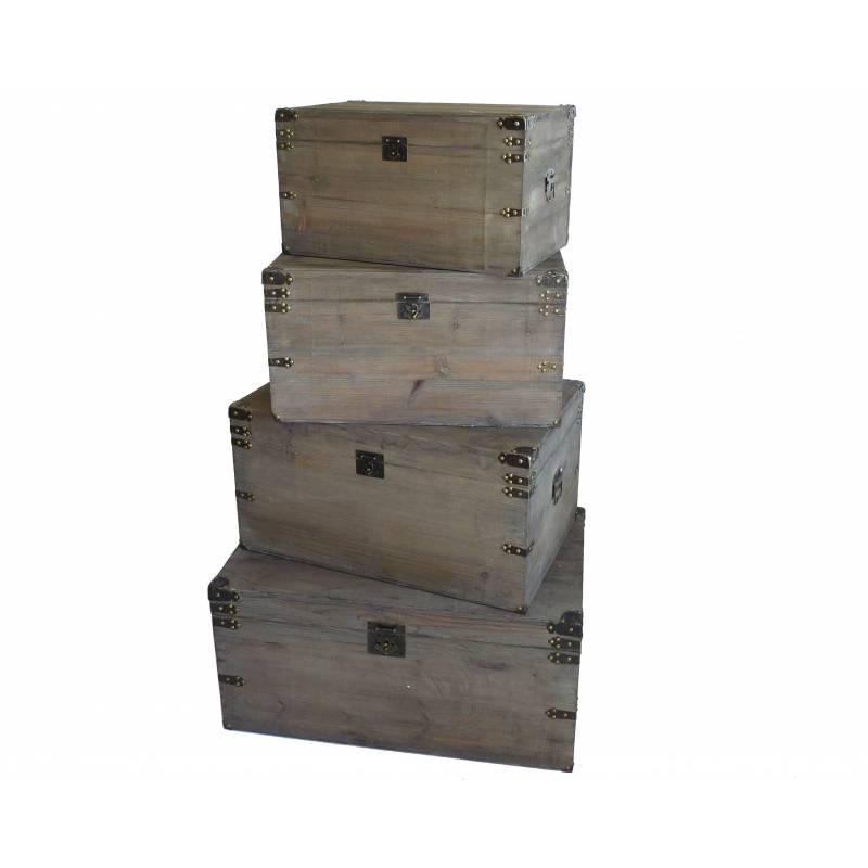 malle style ancienne coffre de rangement jouets bar range bouteilles en bois 32x39x61cm l. Black Bedroom Furniture Sets. Home Design Ideas