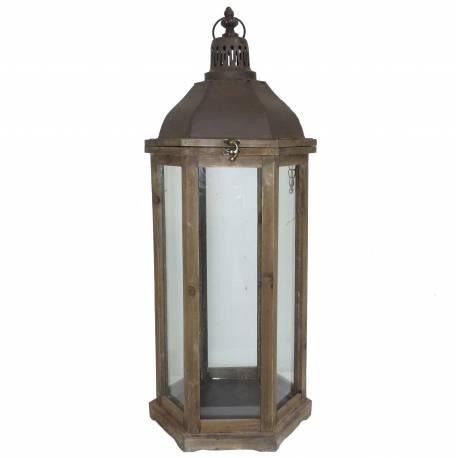 Grande Lanterne ou Lampe Tempête à Bougies en Bois et Fer Patiné Marron 28,5x28,5x75cm