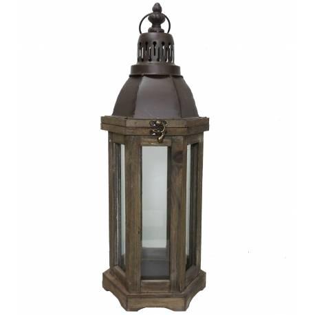 Grande Lanterne ou Lampe Tempête à Bougies en Bois et Fer Patiné Marron 19x19x54,5cm