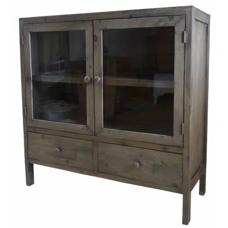 vaisselier 2 portes Bahut de Cuisine à 2 Portes Confiturier Petit Vaisselier Meuble de  Rangement en Bois 35x90x90cm