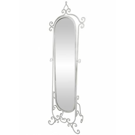 Grand Miroir Psyché sur Pied Glace Orientable Meuble de Chambre ou Salle de Bain en Fer Blanc 34x53x175cm