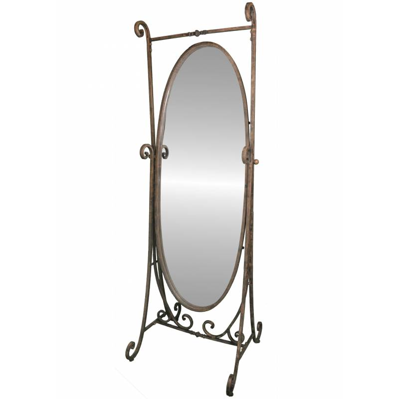 grand miroir type psych glace inclinable sur pied en fer