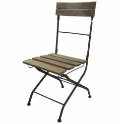 Chaise Pliante Fauteuil Interieur Exterieur en Bois et Fer 42x52x91cm