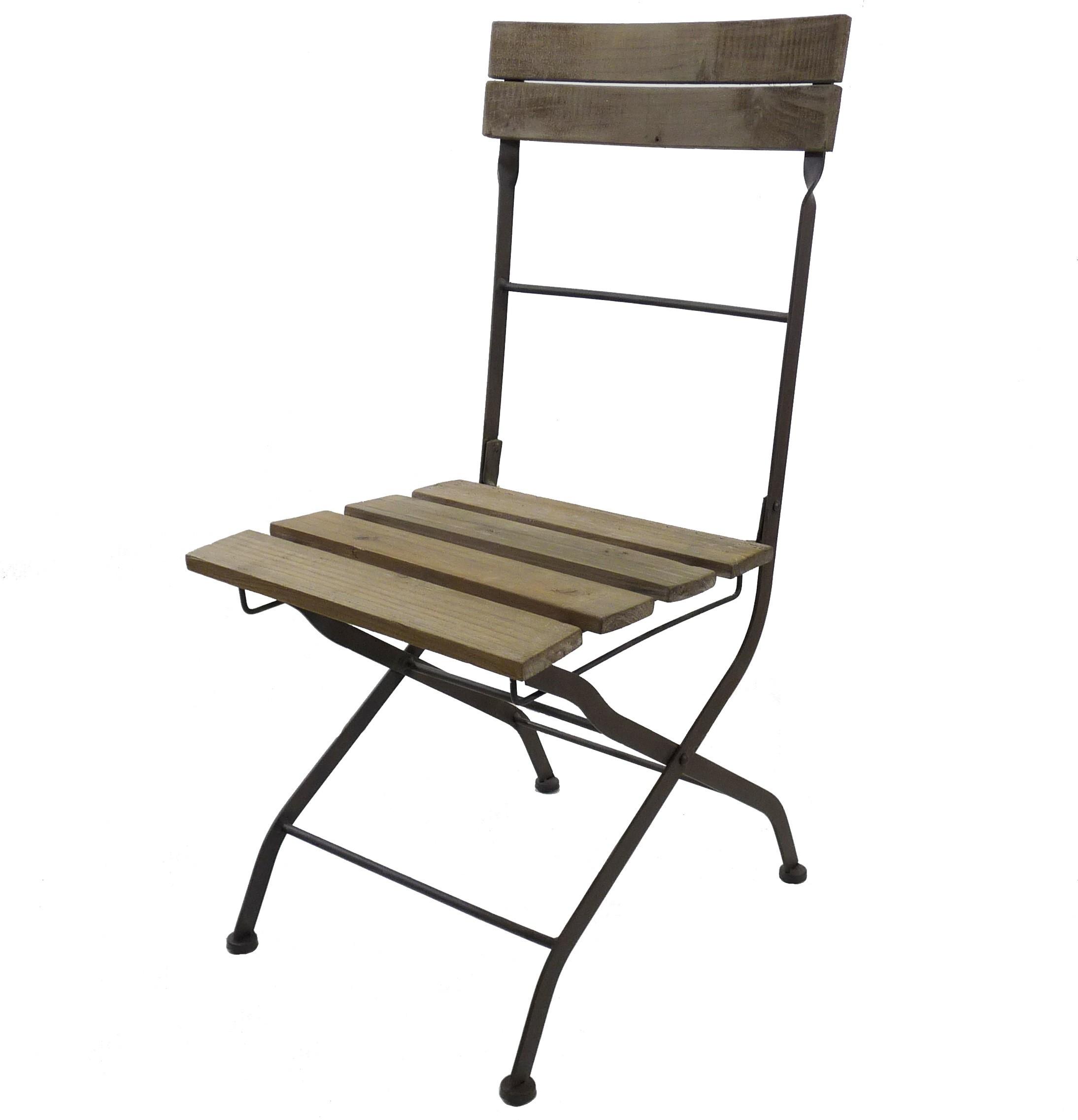 Chaise De Bistrot Pliante Fauteuil Intrieur Extrieur En Bois Et Fer 42x52x91cm