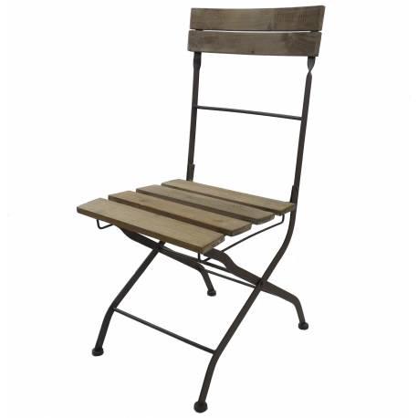 Chaise Pliante Assise de Table Siège Pliable en Bois et Métal Marron 42x51x91cm