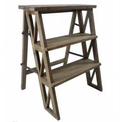 Etagère Meuble Escalier Escabeau Pliable Porte Plantes Bibliothèque à 3 Etages en Bois 45x59x72cm