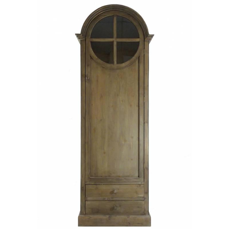 Grand meuble haut bonneti re en bois biblioth que vitrine - Porte en bois avec vitre ...