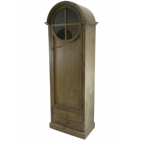 grand meuble haut bonnetire en bois bibliothque vitrine armoire avec porte vitre 44x73x201cm - Meuble Haut Cuisine Porte Vitree Avec Etage
