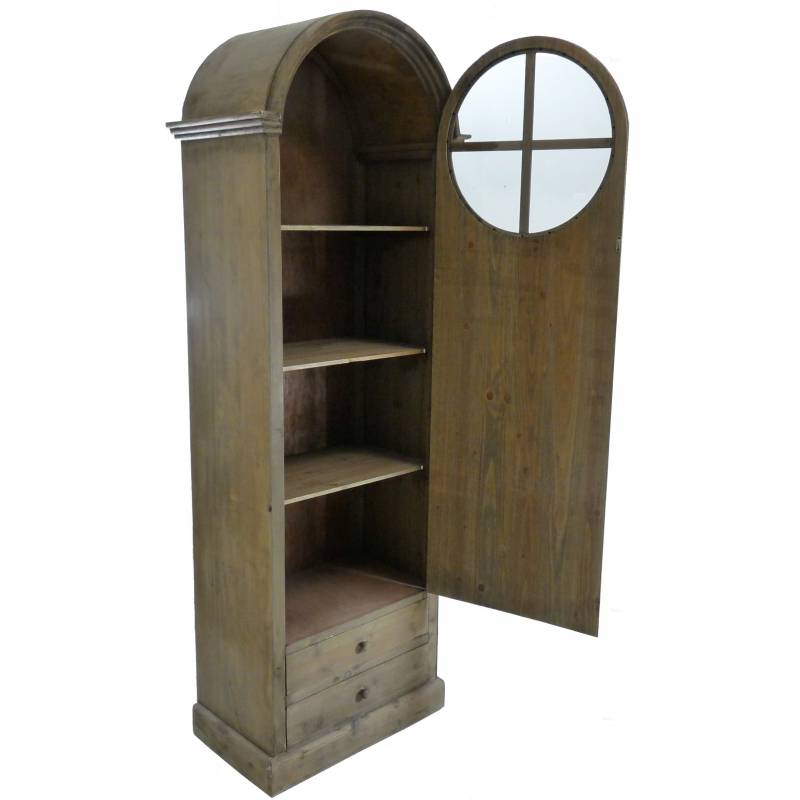 Grand meuble haut bonneti re en bois biblioth que vitrine for Meuble avec porte vitree