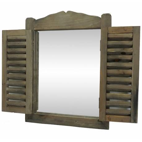 Petit Miroir Mural ou à Poser Glace Rectangulaire en Bois Style ancienne Fenêtre à Volets Persiennes 3x30x40cm