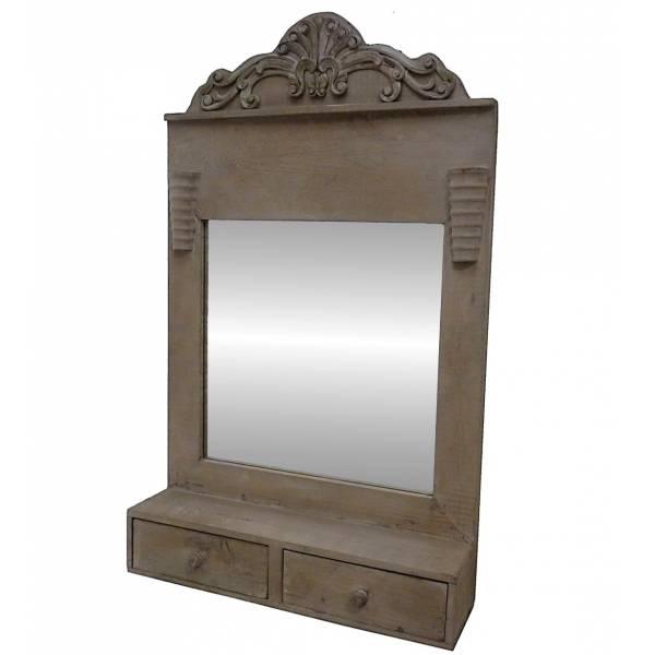 Miroir Mural ou à Poser Glace Rectangulaire Etagère en Bois avec Frise et 2 Tiroirs 13x45x75cm