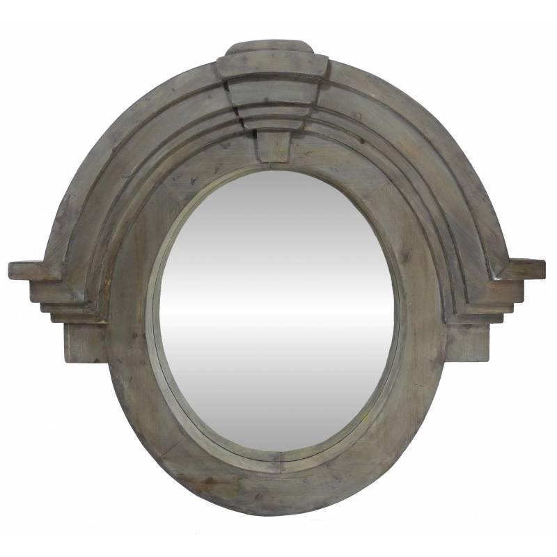 Grand miroir mural style oeil de boeuf ou chapeau de for Miroir bois pas cher