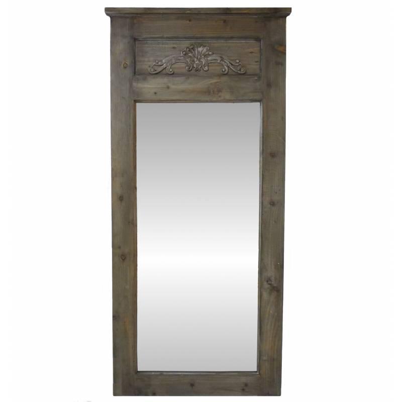 Grand miroir trumeau de chemin e ou d 39 entr e en bois avec for Grand miroir entree