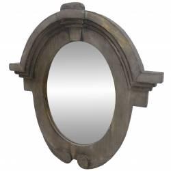 Miroir Mural Glace Ovale Style Ancien Oeil de Boeuf Chapeau Gendarme en Bois 4x50x50cm