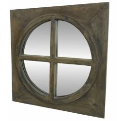 Miroir Carré Glace Ronde en Bois Style Ancien Oeil de Boeuf avec Croix 3x50x50cm