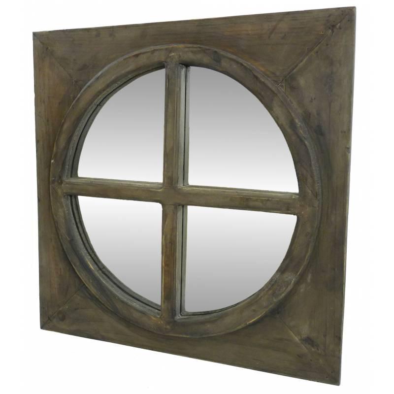 Miroir carr glace ronde en bois style ancien oeil de for Miroir carre bois