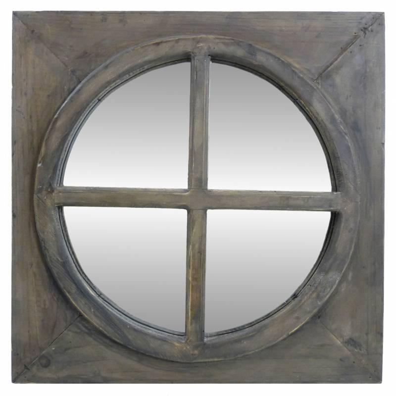 Miroir carr glace ronde en bois style ancien oeil de for Grand miroir carre