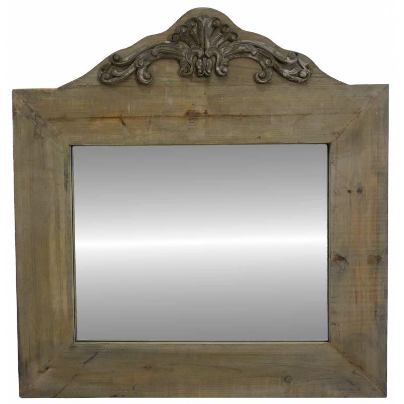 miroir trumeau glace murale rectangulaire en bois vieilli 2x63x66cm l 39 h ritier du temps. Black Bedroom Furniture Sets. Home Design Ideas