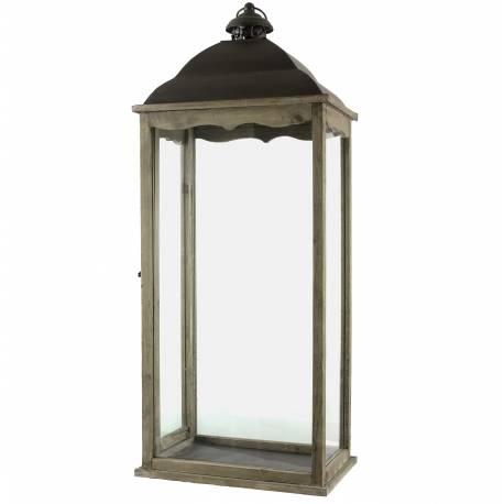 Grande Lanterne Bougeoir Rectangulaire ou Lampe Tempête Intérieur Extérieur en Fer et Bois Patiné Marron 22x34x90cm