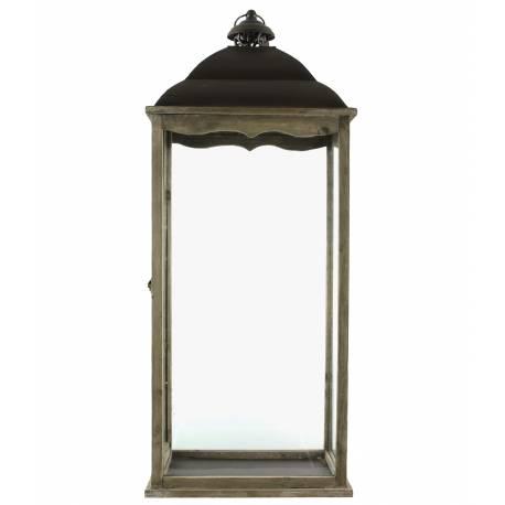 Lanterne Bougeoir Rectangulaire ou Lampe Tempête Intérieur Extérieur en Fer et Bois Patiné Marron 15x25x63cm