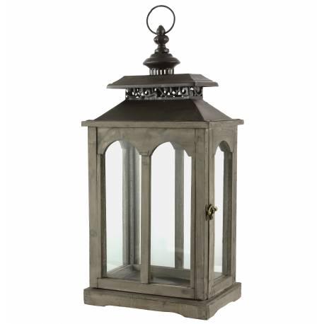 Lanterne Rectangulaire Bougeoir de Charme ou Lampe Tempête en Bois et Fer Patiné Marron 17x25x56cm