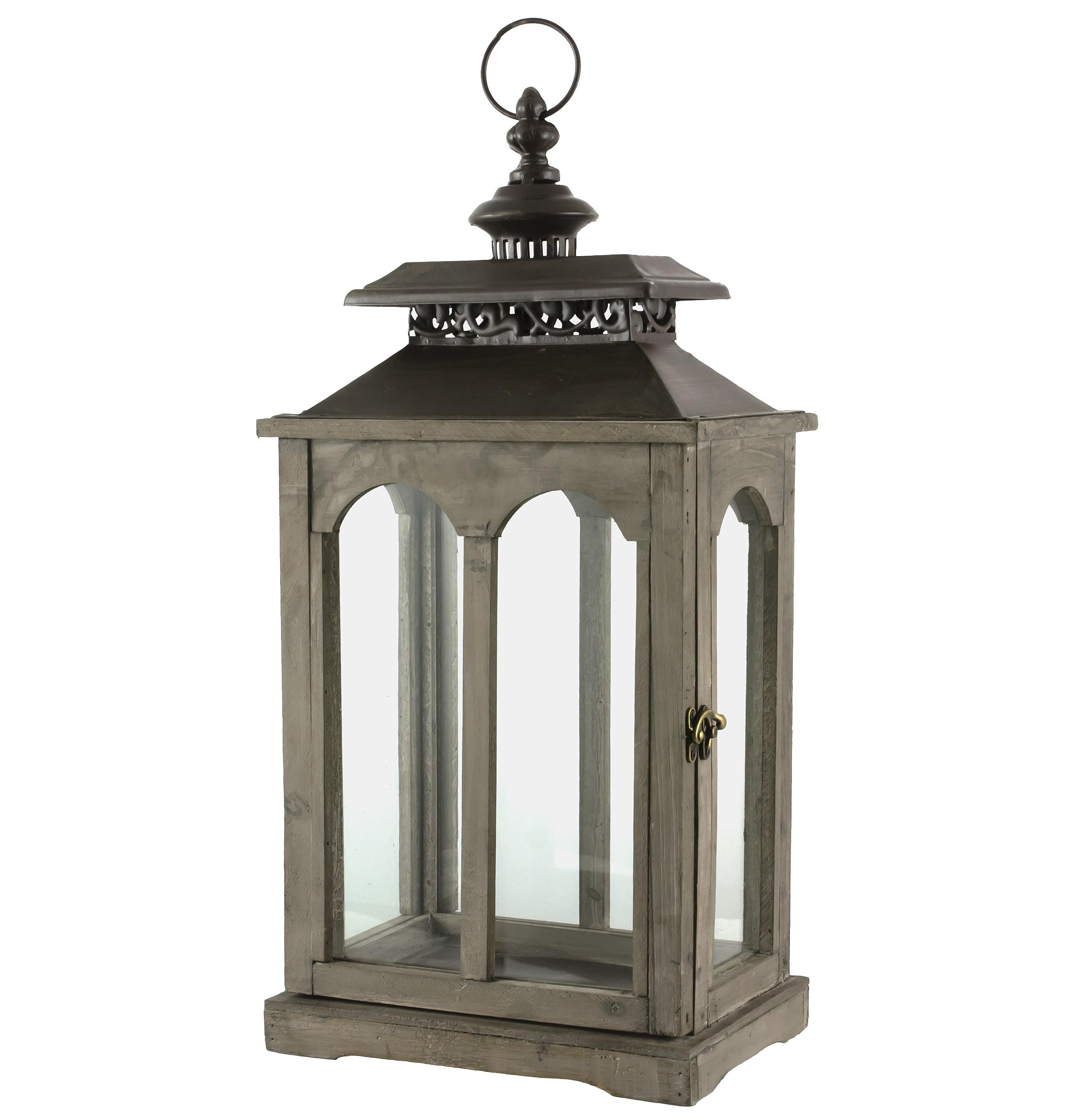 lanterne rectangulaire bougeoir de charme ou lampe tempête en bois