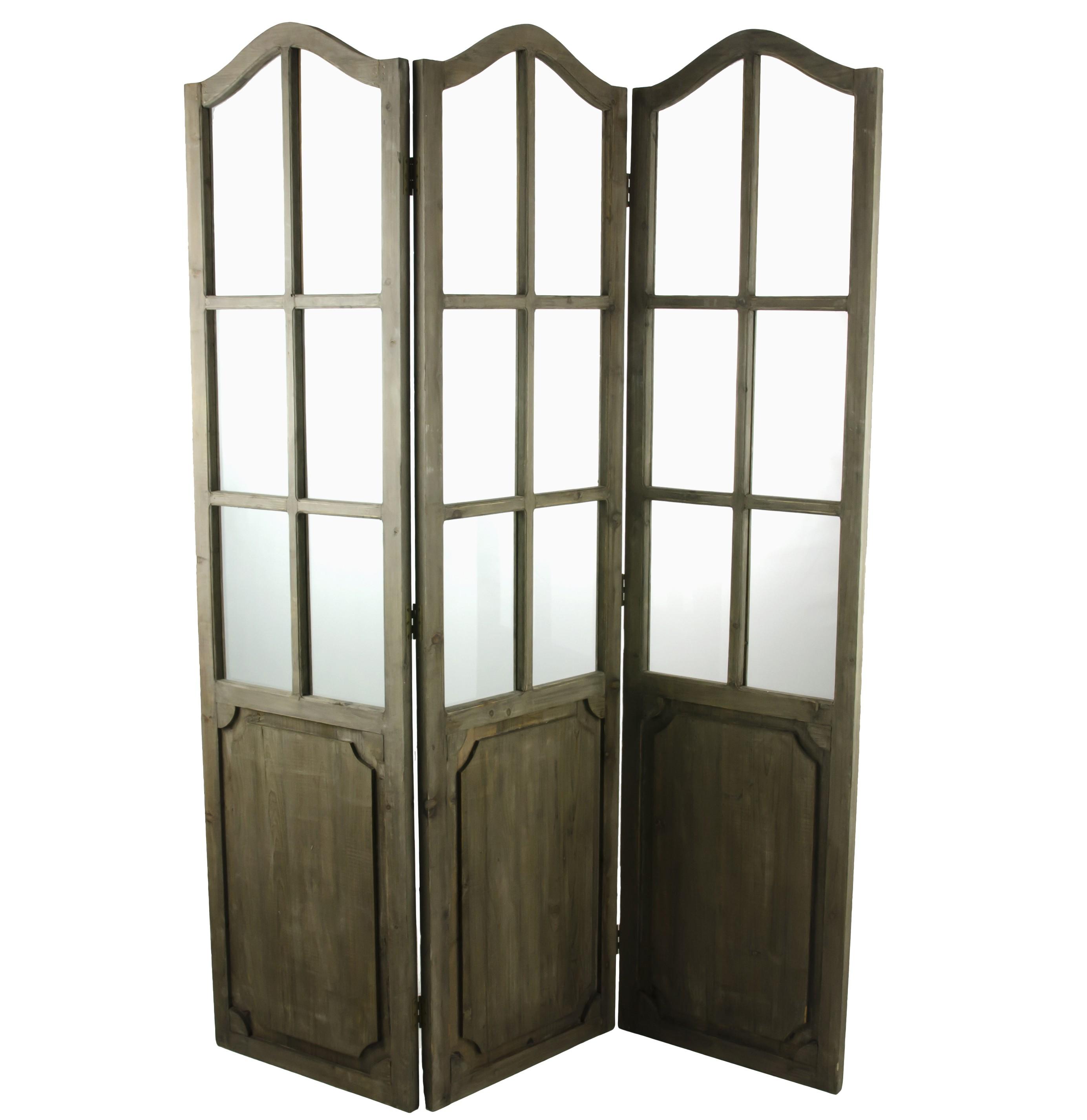 grand paravent à 3 ventaux séparation de pièce en bois & verre