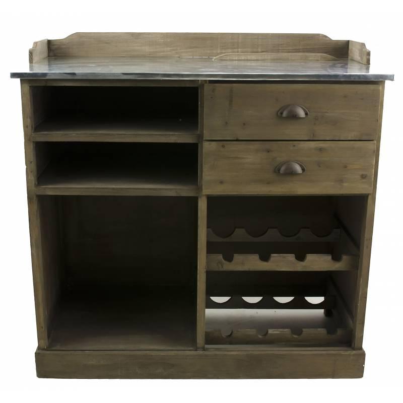 Billot de cuisine ilot central comptoir de bar rangement en bois et zinc 48x96x101cm l - Cuisine avec comptoir bar ...