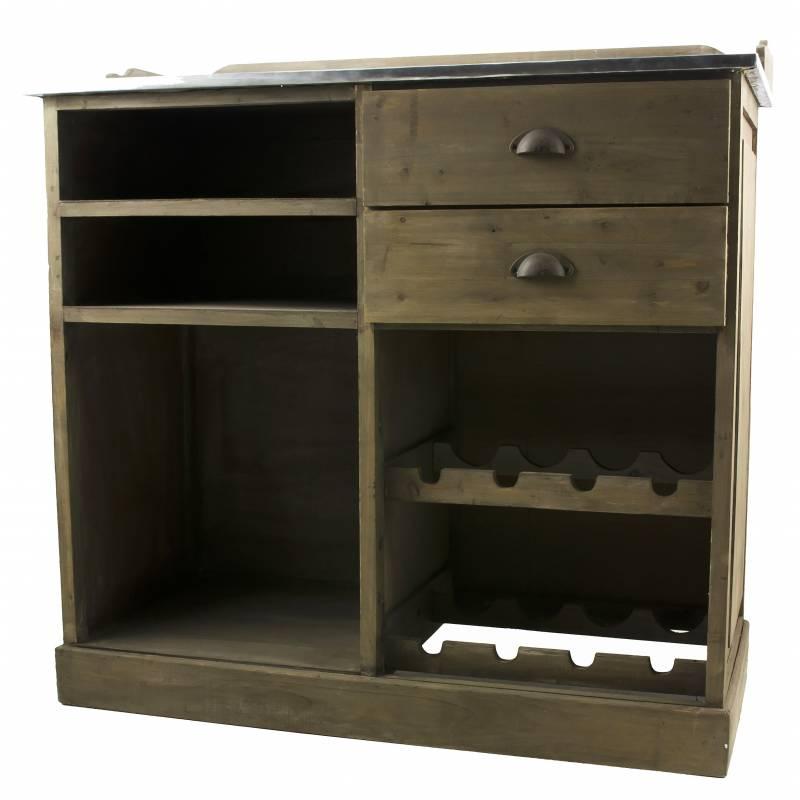 Billot de cuisine ilot central comptoir de bar rangement en bois et zinc 48x96x101cm l - Barre rangement cuisine ...