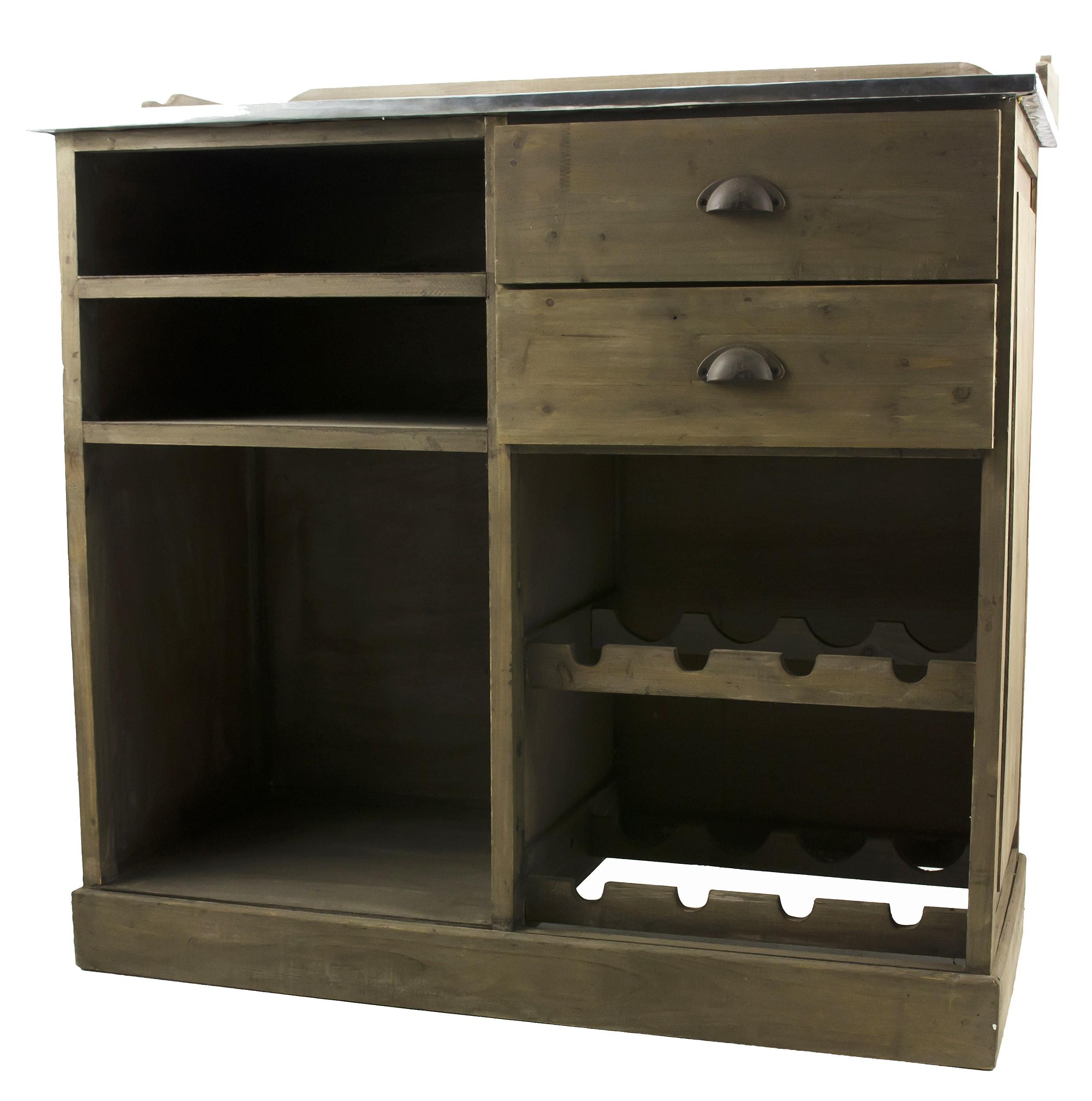 billot de cuisine ilot central comptoir de bar rangement en bois et zinc 48x96x101cm lhritier du temps