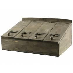 Boîte à Couvert à Rabats Coffret à Thés Casier de Rangement en Bois 19x28x40cm