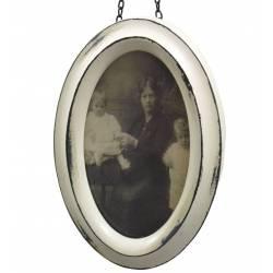 Petit Cadre Photo Ovale Porte Photographies Style Vintage en Bois Patiné Blanc 2,3x11x16cm