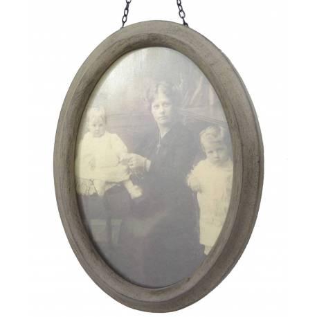 Moyen Cadre Photo Ovale Porte Photographies Style Vintage en Bois Patiné Gris 2,3x16,5x21,5cm