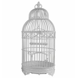 Cage Rondes Blanche Fer 56cm