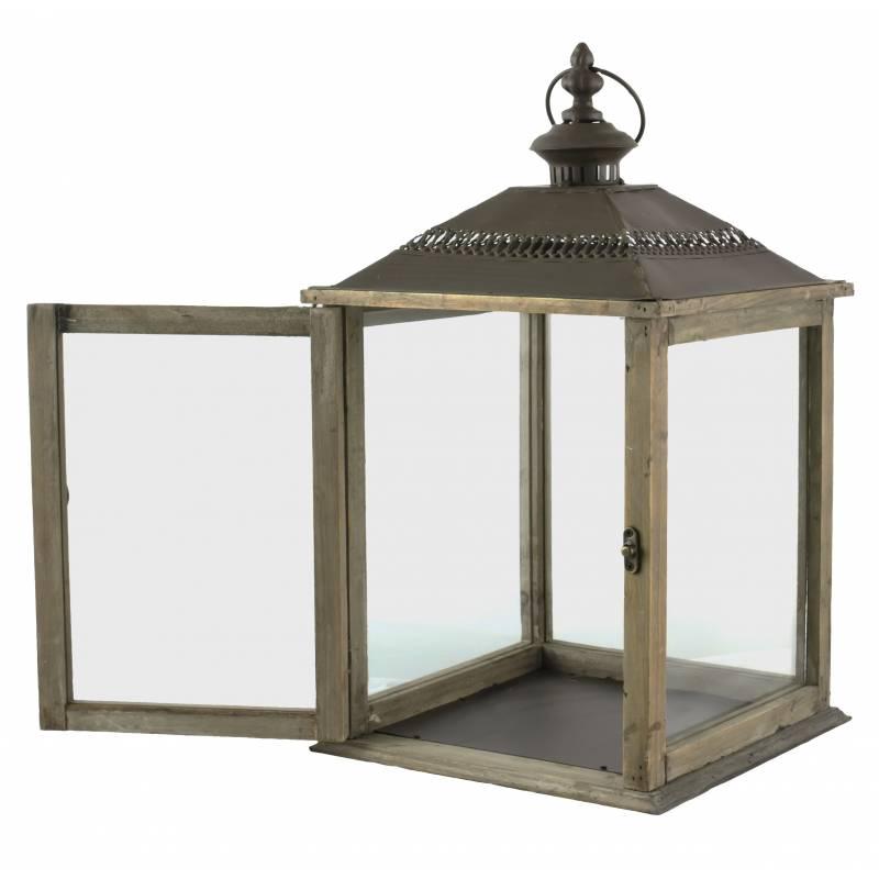 lampe temp te lanterne en bois et fer marron photophore carr int rieur ext rieur 26x26x51cm l. Black Bedroom Furniture Sets. Home Design Ideas