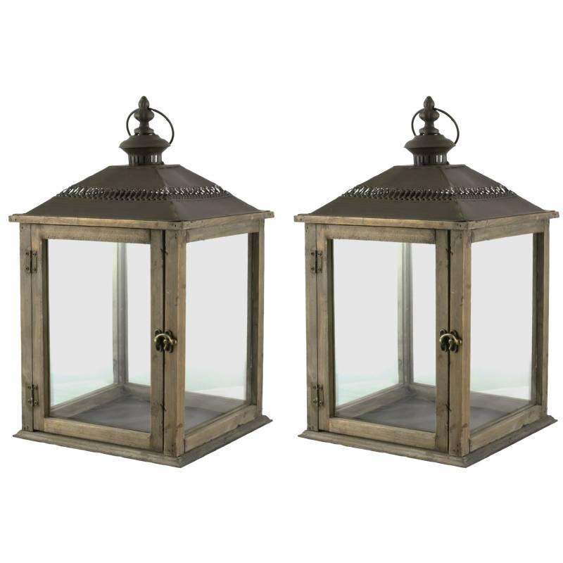 Lampe temp te lanterne en bois et fer marron photophore - Lanterne interieur decoration ...