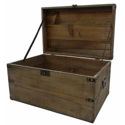 Malle Style Ancienne Coffre de Rangement à Jouets Bar Range Bouteilles en Bois 33x39x61cm