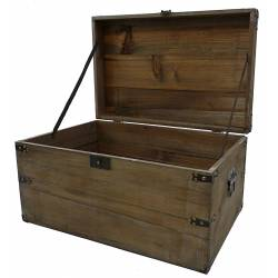 Malle Style Ancienne Coffre de Rangement à Jouets Bar Range Bouteilles en Bois 32x39x61cm