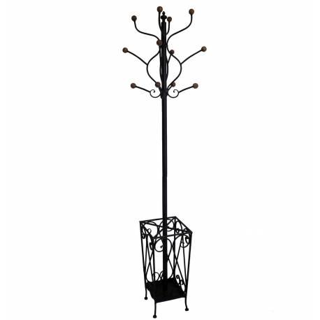 Porte Manteaux et Parapluie sur Pied Veste Chapeau Canne Style Perroquet en Fer 43x43x174cm