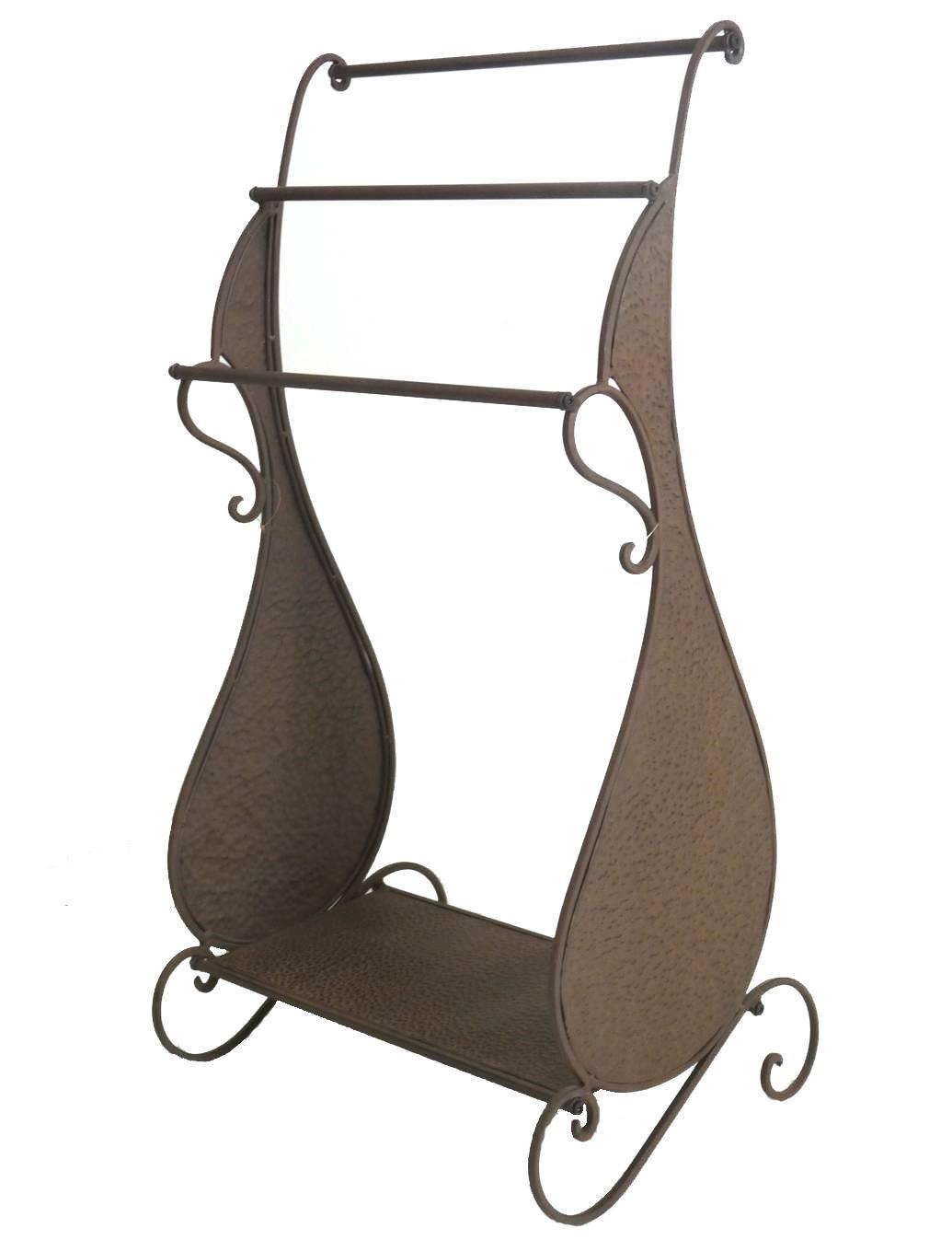 meuble tagre portant de salle de bain etendoir porte serviette valet de chambre en fer marron 37x47x89cm lhritier du temps - Valet De Salle De Bain