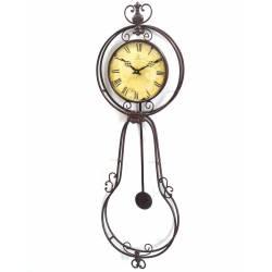 Grande Horloge Murale Pendule à Balancier en Fer Forge Marron Café Des Marguerites 5x32x99cm