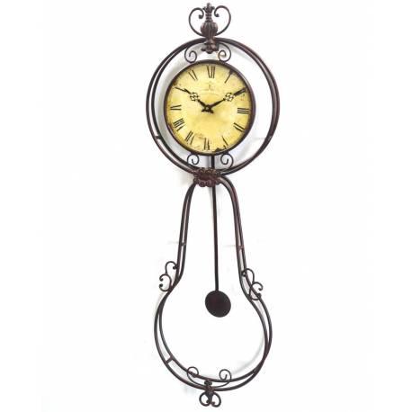 Grande horloge murale pendule balancier en fer forge for Horloge murale fer forge