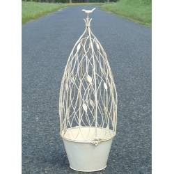 Petite Jardinière Pot de Fleur Buis Topiaire en Fer Blanc Intérieur Extérieur 24x24x67cm