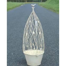 Grande Jardinière Pot de Fleur Buis Topiaire en Fer Blanc Intérieur Extérieur 27x27x78cm