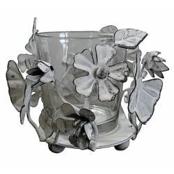 Photophore Bougeoir à Poser Motif Fleur Papillon avec sa Coupelle ou Verrine en Verre et Fer Patiné Blanc 8x10x10cm
