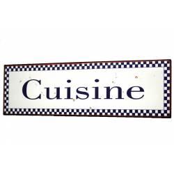 Plaque de Porte ou Murale Décorative en Métal Inscription Cuisine Motif Vichy Bleu 9x33cm