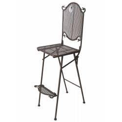 Chaise de Bar Pliante Tabouret Haut Motif Quadrillé Pliable 38x38x122cm